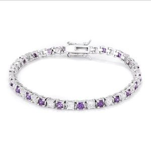 Jewelry - Alternating Amethyst and Clear Tennis Bracelet